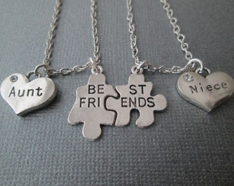 Best Friends Puzzle Piece- Aunt/ Niece Necklaces (Set)