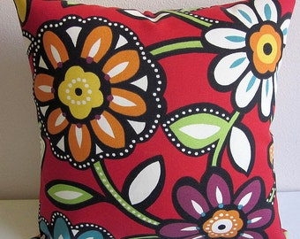 Outdoor Pillow Cover, Decorative Pillow, Richloom Wilder Cabana, Floral Pillow, Striped Pillow, Red Pillow Cover
