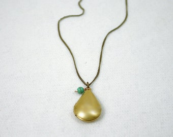 Gold teardrop locket necklace- antique chain - turquoise bead - bridesmaid gifts