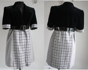 Womens clothing Unique upcycled coat Recycled fabrics Belted waist Black and Grey