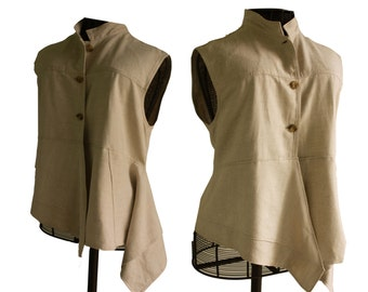 Womens linen and cotton tunic top, vest, sleeveless, assymetrical, upcycled, recycled, khaki