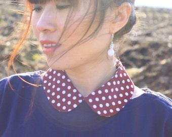 Polka Dot Detachable Turndown Round Collar, Pink or Deep Red