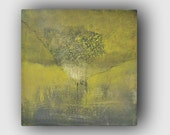 Square Abstract Painting - Yellow and Gray Painting - TEXTURED Acrylic on Canvas - Abstract Tree Art - 8x8 art