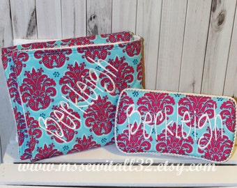 Pink  / Blue Damask Quilted Changing Pad and Diaper Wipes Case Set