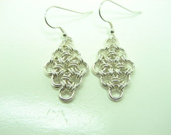 Sterling Silver Japanese Diamond Chain Maille Earrings