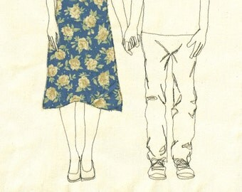 Print of 'Couple Holding Hands' an embroidered illustration by Sarah Walton