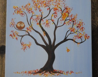 Owl in Autumn Tree