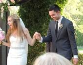 "Rhinestone Trim for Bridal Sash. Swarovski Appliqué for Wedding Gown Belt. Pearls, Crystals. Rhinestones, Beads. ""Melissa"" Size SHORT"