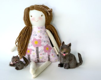 Handmade Rag Doll, Child Friendly Rag Doll, Cloth Fabric Doll, Mirabel