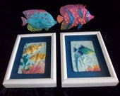 Hand  Cast Paper Fish Framed Wall Hangings