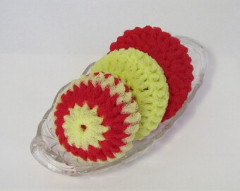 Nylon Net Scrubbies For Your Kitchen And Bath - Multi Color Red And Yellow