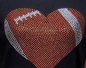 Football heart shirt made with crystal rhinestones