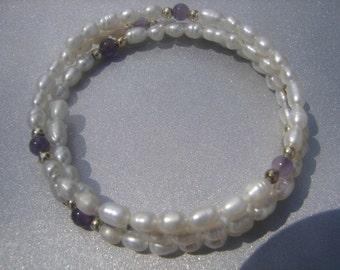 Amethyst & Freshwater Pearl Wrap Bracelet 516.