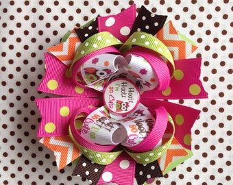 Ready To Ship Hairbow! Adorable Owl Hairbow, Hoot Hoot I'm So Cute Owl Hairbow, Chevron, Polka Dot Boutique Hairbow, Girls Hairbow