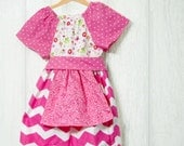 Toddler Girl's Pink Chevron and polka dot peasant apron dress - Sunday dress - Girls Fashion - Childrens clothes - Size 3t