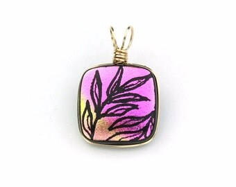 Wire Wrapped Magenta Pink and Gold Dichroic Glass Pendant with Black Leaves
