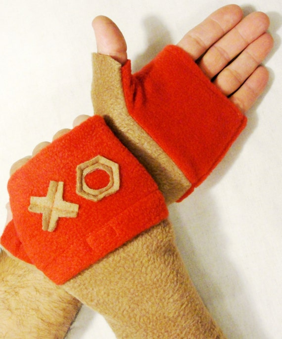 Fingerless Gloves with Hand Warmers Pockets  Hugs and Kisses Red Beige.