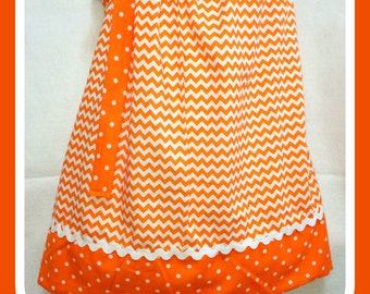 Orange Chevron and Dots Pillowcase Dress