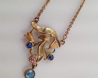 ART NOUVEAU Necklace, Gold Filled, Gilded Brass, Glass Gemstones SINUOUS Style Early 20th Century