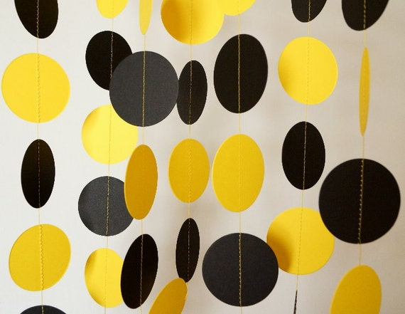 Black and yellow paper garland graduation decorations bumble for Bee decorations for the home