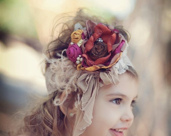Gorgeous Fall Colors Tans, Yellow Gold, Raspberry, Chocolate and Orange Handmade Flower Headband, Feathers,  silk rosettes Pearls