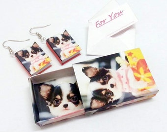"Free Ship MINI BOOK EARRINGS dog Chiwawa o Personalized with your pet friend picture + mini gift box + mini gift card ""For you"" christmas"