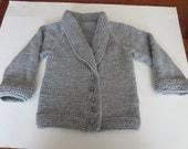 Little girl's grey shawl collared cardigan
