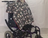 Kid Wheelchair Poncho Coat Cover Blanket (4-9 years old) Baseballs with Red
