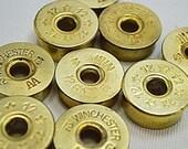 12 gauge shotgun bullet shell bezels, emptied, polished, center pin removed,  20 pack