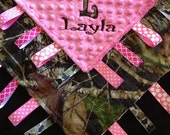 Pink Camo Baby Tag Security Blanket