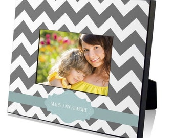 Gray Chevron Custom Picture Frame
