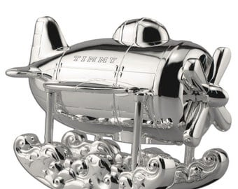 Engraved Silver Airplane Engraved Coin Bank