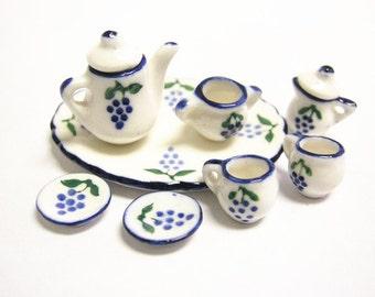 Miniature Decorative Porcelain Tea Set 10 Pieces -7606H