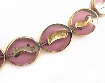 12pc 17x14mm copper plated flat oval glass beads-9181