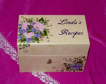 Hand Painted Recipe Box Personalized Wedding Guest Book Box Decorative Wooden Recipe Card Box Custom Shabby Chic Advice Box Roses Butterfly