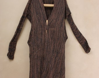 Black and Brown knitted sweater, Brown Crochet women oversize cardigan