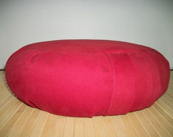 "Red Zafu. Meditation Cushion. Zafu. Eco Conscious. Red Brushed Cotton Twill Fabric. 15x5. UNFILLED Cover Only. 6"" Side Zipper. USA made"