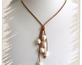 Beach jewelry - Leather and Pearl Necklace - Waterfall, Freshwater Pearls, Distressed Brown Leather - Boho Beach