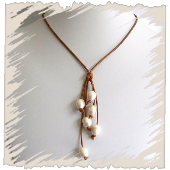 beach jewelry leather and pearl necklace by fabflamingowraps