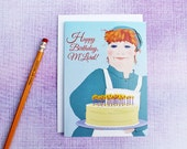 COOK's BIRTHDAY CARD — Mrs. P's Layer Cake choice of M'Lady or M'Lord, Frosting, Candles