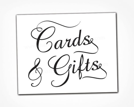 Card and gift table sign instant download printable Calligraphy and sign