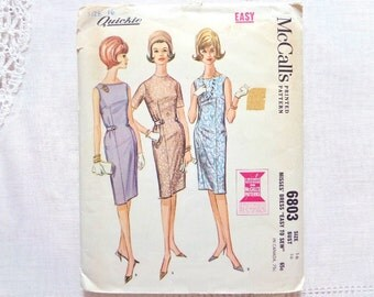 Vintage McCall's Dress Pattern 6803 Size 16