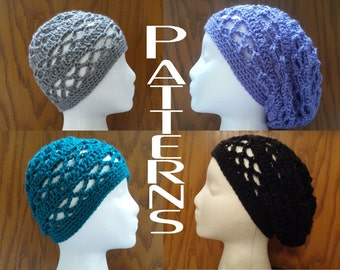 Crochet PATTERNS Breezy Lattice Beanie and Slouchy Beanie Hat Two Patterns DIY