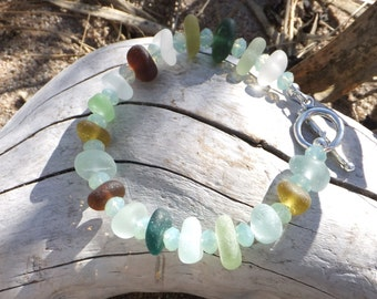 Sea Glass Bracelet - Genuine Beach Glass -  Ocean and Tidepool colors.  Swarovski crystals