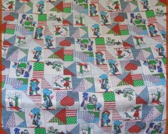 Vintage Hollie Hobbie Patchwork Curtain Drape Set Fabric