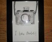 "Original ""I Take Photos"" Framed Illustration"