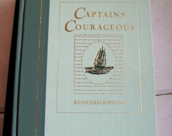 Captains Courageous by Rudyard Kipling, Readers Digest hardcover vintage book, illustrations by I. W. Taber