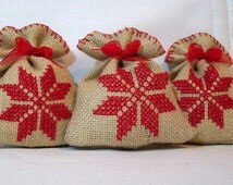 Handmade set of 3 burlap gift bags or Christmas / Xmas spice scented potpourri pouches , star. OOAK Approx: 3.5x4 inch/9x10 cm FREE SHIPPING
