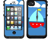 Skins FOR the Lifeproof iPhone 4 Case - Sailboat on blue water with puffy clouds in sky - Free Shipping Lifeproof Case NOT included