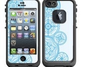 Skins FOR the Lifeproof iPhone 5 Original Case - Mandala collage design in teal ohm - Free Shipping Lifeproof Case NOT included